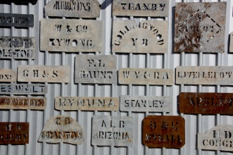 Wool bale brands at Qantilda Museum, Winton. Photo: Erle Levey