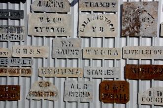 Wool bale brands at Qantilda Museum, Winton. Photo: Erle Levey