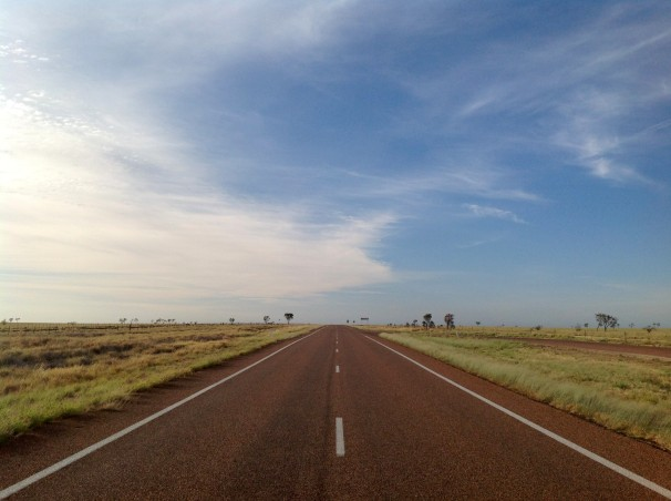 The road to Winton from Longreach.Photo Erle Levey / Sunshine Coast Daily
