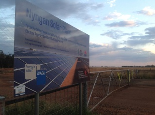 The gate to the Nyngan Solar Plant, NSW. Photo: Erle Levey