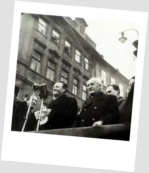 Klement Gottwald, longtime leader of the Communist Party of Czechoslovakia (KSČ), speaking in Wenceslas Square. He was prime minister from 1946 to 1948 and president from 1948 to 1953.