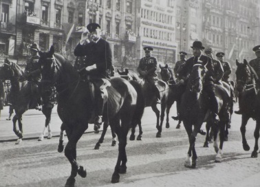 """President Tomas Garrigue Masaryk during a parade on Wenceslas Square on October 28, 1933. A staunch advocate of Czechoslovak independence during World War I became the founder and first president of Czechoslovakia. He was referred to as """"President liberator""""."""