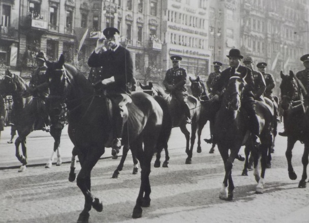 "President Tomas Garrigue Masaryk during a parade on Wenceslas Square on October 28, 1933. A staunch advocate of Czechoslovak independence during World War I became the founder and first president of Czechoslovakia. He was referred to as ""President liberator""."