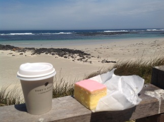 Coffee and vanilla slice, Pt Fairy, Victoria. Photo Erle Levey