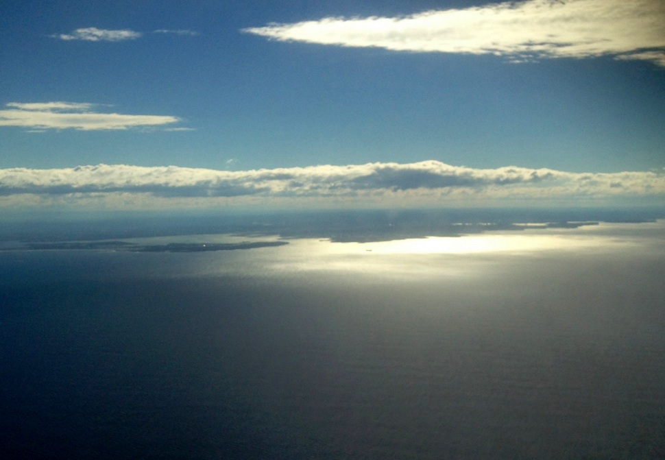 Approaching Botany Bay from the air.