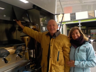 Scott and Florence Harrod of the SAM Project serving coffee at The Rocks Aroma Festival. Photo Erle Levey / Sunshine Coast Daily