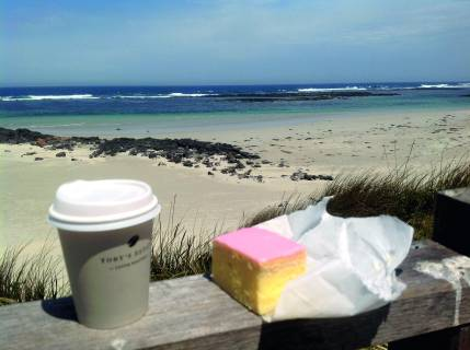 Coffee and vanilla slice, Pt Fairy, VictoriaPhoto Erle Levey / Sunshine Coast Daily