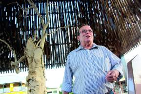 Barcaldine mayor Rob Chandler at the Tree of Knowledge, the site of the shearer's strike in 1891. Photo: Leavearly.com
