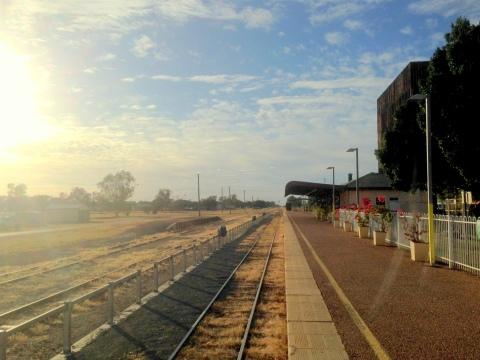 Sunrise at Barcaldine railway station. Photo: Erle Levey, Sunshine Coast Newspapers